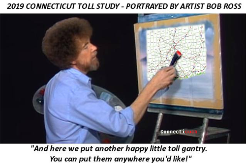 Bob Ross painting tolls on CT map spoof meme