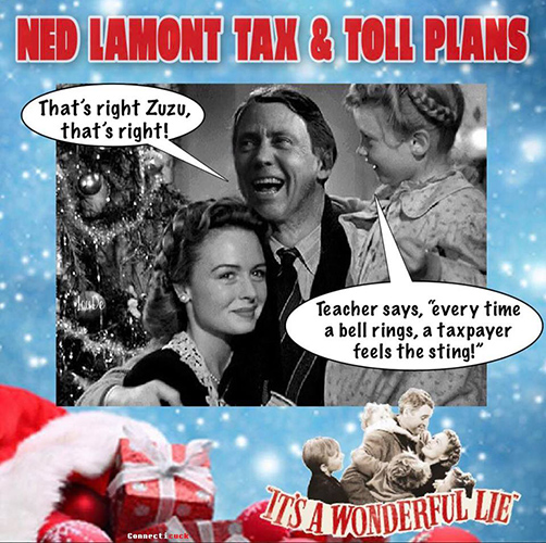 Ned Lamont implementing tolls It's a Wonderful Life spoof meme