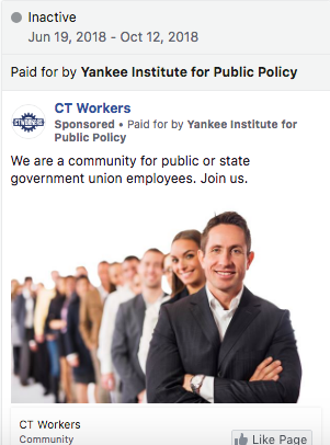 CT Workers Facebook ad, paid for by the Yankee Institute for Public Policy