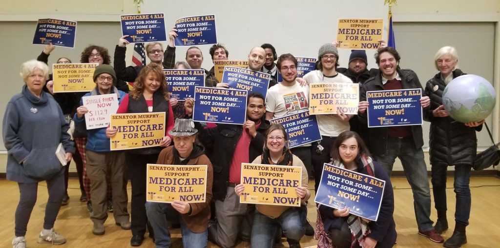 Medicare for All CT members pose after the event on Dec. 15