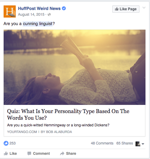 A Facebook post from the Huffington Post which egregiously uses a cunning linguist pun