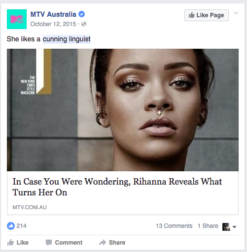 A Facebook post from MTV Australia which egregiously uses a cunning linguist pun